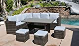 7 Piece Outdoor Conversation Set All Weather Wicker Sectional Sofa Couch Dining Table Chair with Ottoman, Grey