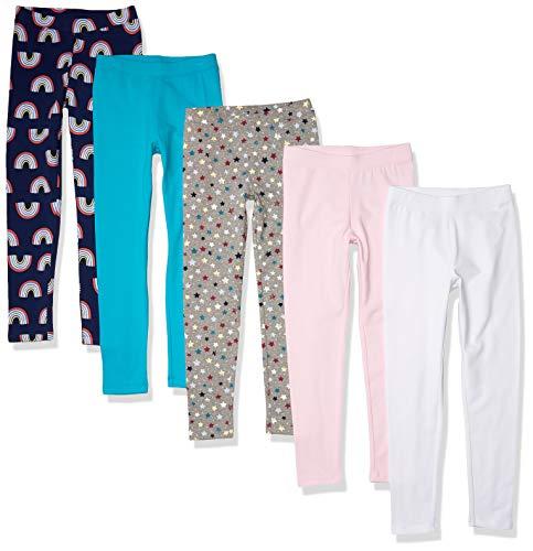 Amazon Essentials Leggings-Pants, Paquete de 5 arcoíris, 4 años, Pack de 5
