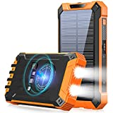 Solar Power Bank 36000mAh Built-in 4 Cables Qi Wireless Charger with Dual LED Flashlight Solar Portable External Battery IPX4 Waterproof 15W 5V/3A USB C Port Six Outputs Three Inputs(Orange)