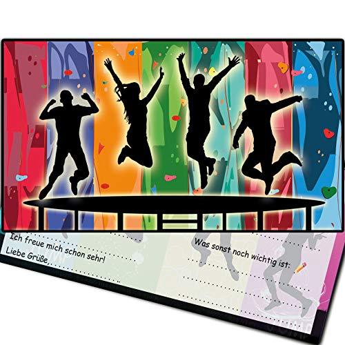 monteblago Einladungen Jump Party Trampolin-Party Einladungskarten Jumpparty Kindergeburtstag Geburtstag Kinder Erwachsene Mädchen Jungs Karten