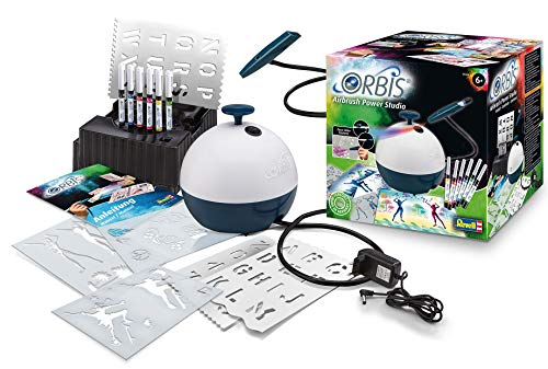 Unbekannt Orbis 30020 Airbrush Power Studio, Komplett-Set inkl. Kompressor und Zubehör, Patrone einstecken und lossprühen, Airbrushsystem für Kinder und kreative Erwachsene, kinderleicht und sauber