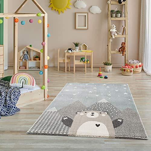 Fashion4Home Teppich Kinderzimmer - Teppiche für Kinderzimmer, Kinderteppich, Kinderteppich Mädchen, mit Bergen, Bär, Hase, Panda, Punkte, Herz, Sterne, Dots, Ballon - Türkis-Beige - Größe: 80x150 cm
