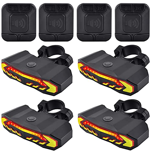 Bike Alarm Taillight with Electric Bell, Anti-Theft Bicycle Taillight with Turn Signals and Automatic Brake Light, Remote Control Bike Rear Light USB Rechargeable Safety Warning Cycling Light, 4 Pack