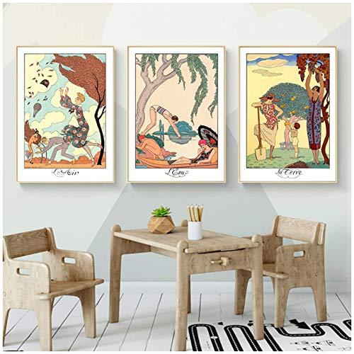 Ilustraciones de George Barbier Descargar elementos Arte de la pared Carteles e impresiones Cuadro decorativo Decoración moderna del hogar -16x24inx3 Sin marco