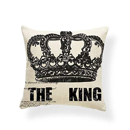 QTYVI Corona King Queen Cuscini Diamond Word Croce Federa Cuscino Regalo Spiaggia Cuscino Amore con Fodera Piccola Divano del Soggiorno