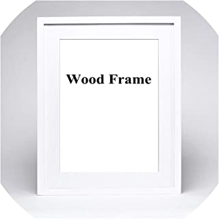 Nature Solid Simple Wooden Frame A4 A3 Black White Pink Color Picture Photo Frame with Mats for Wall Mounting Hardware Included,White,8x10inch(20x25cm)