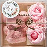 placer1 ハンカチ&ソープフラワー カーネーション バラ プレゼント ギフトボックス 箱入り PR120 ピンク系