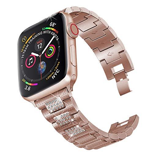 PUGO TOP Cinturino Replacement per Apple Watch Serie 4 40mm, Serie 3/2/1 38mm, da Donna, in Acciaio Inox