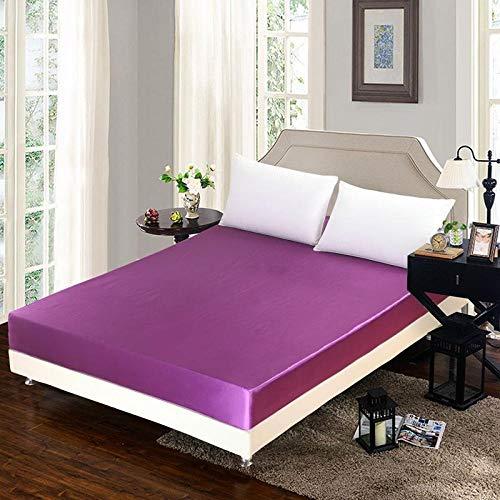 HPPSLT Protector de colchón - cubrecolchón Transpirable Sábana Individual Violeta_180 * 200 + 25cm