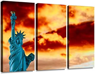 New York City, The Statue of Liberty in a Colorful Sunset Passionate Print On Canvas Wall Artwork Modern Photography Home Decor Unique Pattern Stretched and Framed 3 Piece