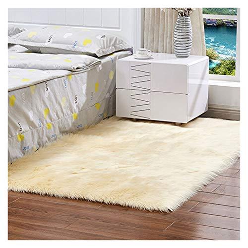 Rectángulo de lujo suave y suave área de la alfombra blanca alfombra de piel blanca peludo pelo largo sólido decoración casera decoración alfombra dormitorio alfombrilla mullido área alfombra alfombra