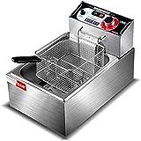 YHLZ Freidora comercial de la freidora eléctrica de la freidora eléctrica buñuelos fritos Freír las patatas fritas de patata de la máquina for freír máquina de acero inoxidable de 5,5 litros 2500W elé
