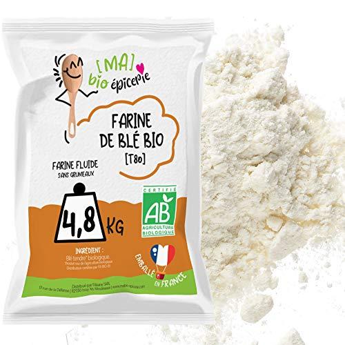 [Ma] bio-épicerie   Farine de blé bise T80 BIO   4,8 Kg   Sachet vrac   Certifié biologique   Idéal pour vos pains, pâtes à pizza, fougasses