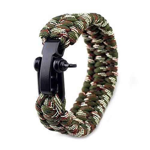 Asuthink Paracord Armband, Survival Armband Armband für männer Armbänder für Herren Outdoor Notfall Überlebens Armband, Glanz-Edelstahl Verschluss Einstellbar für Reisen Camping Wandern - Tarnen
