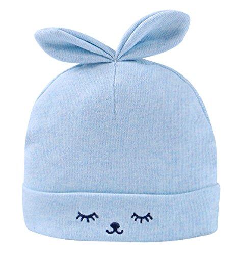 FEOYA Gorro Gorra para Bebés Sombrero de Punto Recien Nacido Hat Primavera con Orejas Lindo Algodón Estampado Azul 0-3 Meses