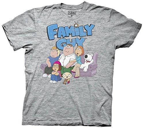Ripple Junction Family Guy with Logo Adult T-Shirt Medium Heather Grey