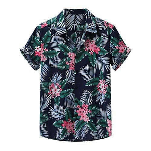 Yowablo Hemden Männer Mode gedruckt Turn Down Kragen Kurzarm Casual (XL,14Grün)