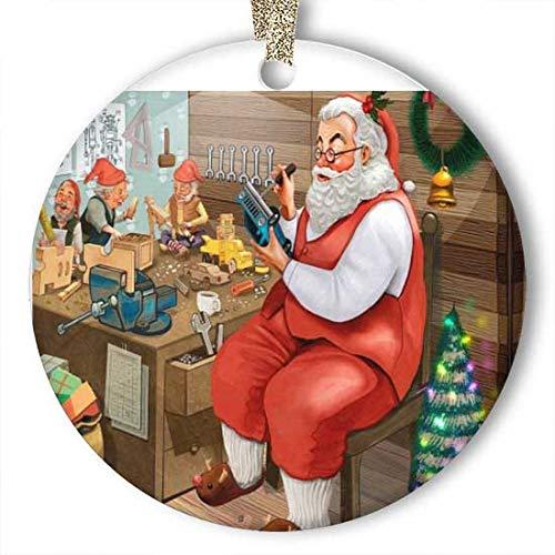 EaYanery Santa Claus presenta el adorno del coche (redonda) personalizado de cerámica navideña Navidad Ideas 2019