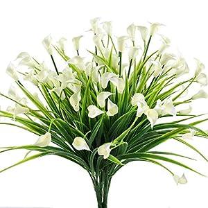 Chapter Seven 4pcs Artificial Calla Lily Arbustos Falsos Plantas Falsas Resistentes a los Rayos Bujes de plástico…