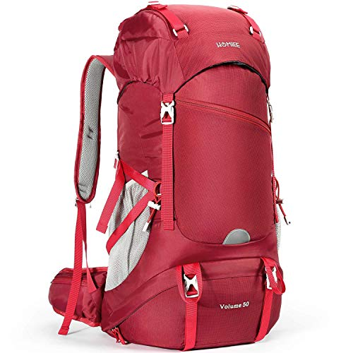 HOMIEE Hiking Backpack, 50L Waterproof Trekking Rucksack with Rain Cover, Excellent Carrying System Breathable Lightweight Outdoor Sport Running Walking Skiing Mountaineering Climbing Backpack