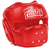 Fairtex HG14 Full Face Head Guard, Equipment Headgear Muai Thai, Head Guard Thai Boxing, Helmet MMA, Headguards Kickboxing, Head Protection Headpiece, Super Sparring (Red, Large)