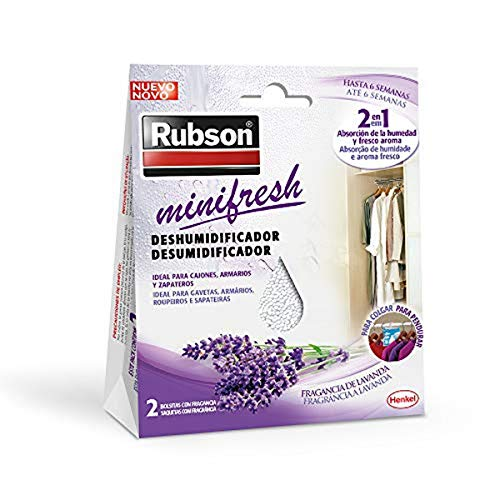 Rubson Minifresh, deshumidificador y ambientador de lavanda, bolsas deshumidificadoras en formato percha, absorbe olores 2 en 1 para hogar y oficina, 2 x 50 g, bolsita