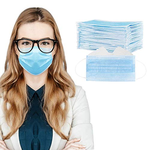 Sanhee 100PC Anti-Fog Face_Mask for Glasses Wearers with Adjustable Nose Wire 3-ply Disposable Breathable Face Bandanas for Teens Adult Best Fog Free Face Protectors Coverings, Blue