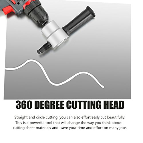 Double Headed Sheet Metal Nibbler, REXBETI Nibbler Drill Attachment Metal Cutter, Tool Kit With Extra Punch and Die