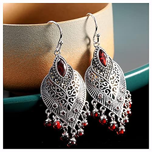 CHXISHOP Pendientes de Moda de la Vendimia de la Vendimia 925 Silver Hueco Tallado Tallado Tassel Pendientes Rojos, aretes del triángulo, Pendientes de Gota Style 2