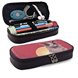Pencil Case Leather Lovely 3D Cat Large Storage Foldable Pen Case Box Organizer Bag for Teen Girls Kids Office School Students