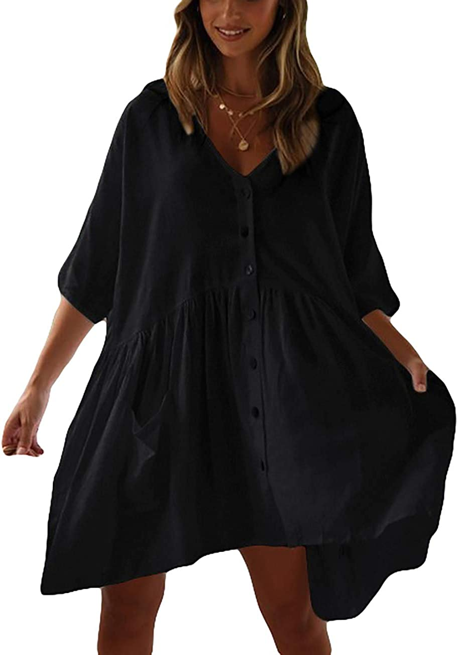 Bsubseach Women Casual Bikini Swimsuit Cover Up Blouses Beach Tunic Dress One Size
