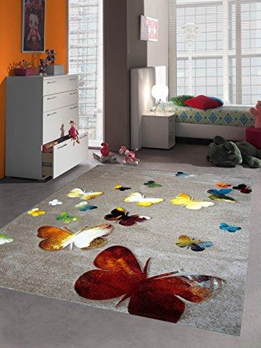 Kinderteppich Spielteppich Kinderzimmer Teppich Schmetterling Design mit Konturenschnitt Braun Beige Rot Orange Gelb Creme Schwarz Türkis Grün Größe 120x170 cm