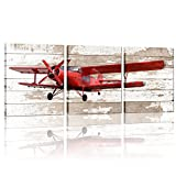 3 Pieces Canvas Wall Art Red Vintage Propeller Aircraft Picture With Wooden Background Home Decor Framed and Stretched Ready to Hang For Office 12'x16'x3