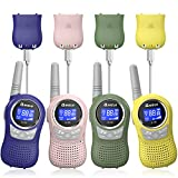 Qniglo Walkie Talkies for Kids Rechargeable, 4 Pack Kids Walkie Talkies with Charger 22 Channels, Best Gifts Toys for 3-12 Years Old Girls Boys Family Outdoor Activities (Q168P-PinkGreenBlueYellow)