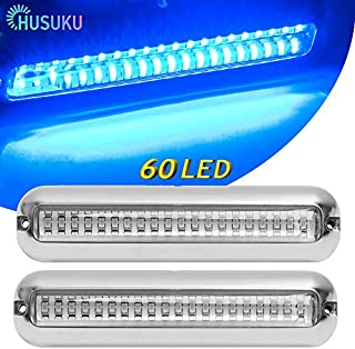HUSUKU SOOP3 PRO Blue 2000LM 60LED Waterproof Stainless Steel Trim Ring Boat High-Intensity LED Underwater Light Clear Lens Pontoon Marine/Boat Transom