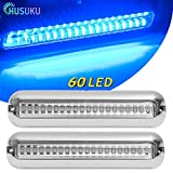 HUSUKU SOOP3 PRO Blue 12~36V 60LED Waterproof Stainless Steel Underwater Boat Lights/Boat High-Intensity LED Clear Lens Pontoon Marine/Boat Transom Light