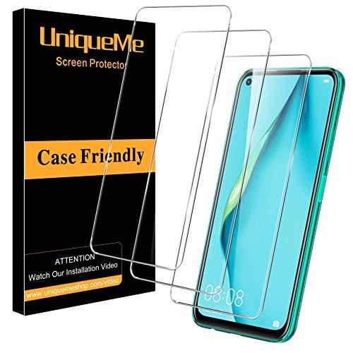 UniqueMe [3Pack] Schutzfolie für Huawei P40 Lite Panzerglas, [Maximale Abdeckung] HD klar Folie gehärtetes Glas Displayschutz