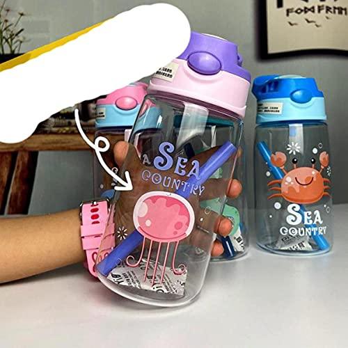 Bouteilles d'eau d'enfants de bébé potable bouteilles d'eau d'école d'enfants infantiles pour des bouteilles en plastique mignonnes d'enfants avec de la paille-480ml, P22