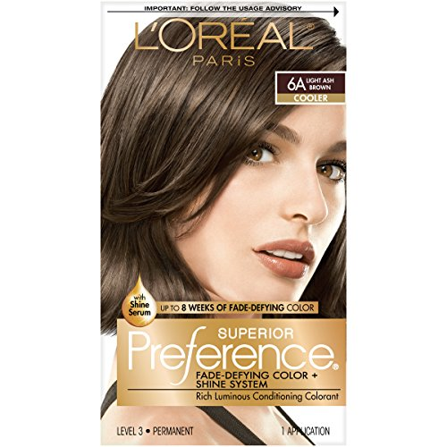 L'Oreal Paris Superior Preference Fade-Defying + Shine Permanent Hair Color, 6A Light Ash Brown, Pack of 1, Hair Dye