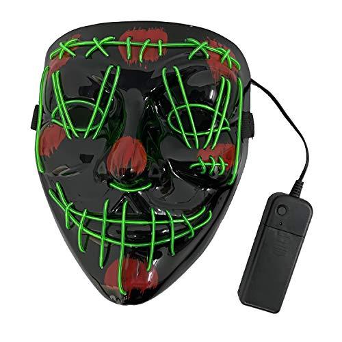 KEEHOM Máscara LED Halloween, Disfraz Luminosa Craneo Esqueleto, para Halloween Navidad Cosplay Grimace Fiesta Festival, Alimentación por Baterías (no Incluidas)