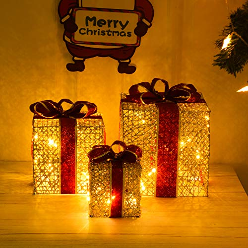 Joyjoz 3 Lighted Gift Boxes for Christmas, Christmas Lighted Decoration Box, Outdoor Yard&Home Décor, Christmas Tree Ornament Indoor Holiday Party Weddings Yard Home Holiday Art Decorations