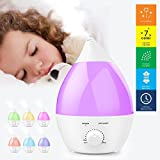 Humidificateur à ultrasons, OGIMA 1.3 Litre Aromatherapy Aroma Diffuseur, Humidificateur Cool Mist, 7 Couleur LED Fonctionnement silencieux avec fonction d'arrêt automatique Waterless pour la chambre à coucher