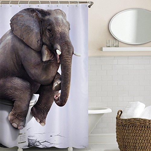 Sunvp Home Wasserdicht Schimmel Beweis Bad Duschvorhang mit 12 Haken - Qualitäts-Polyester-Gewebe Duschvorhänge180*180,Die Bilder des Elefanten,Digitaler Druck,Nylon Material,Cartoon-Stil