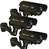 3 Pack - JYtrend (TM) Outdoor Dummy Fake Security Camera with
