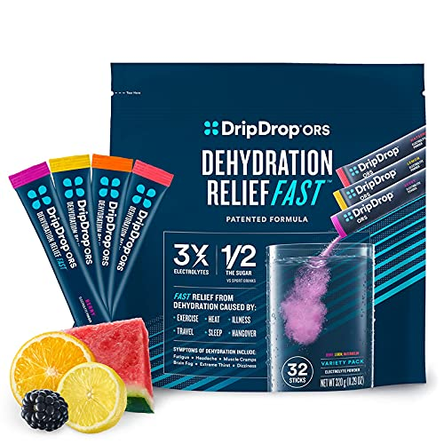 DripDrop ORS - Electrolyte Powder for Dehydration Relief Fast - for Workout, Heat, & Travel Recovery - Watermelon, Berry, Orange, Lemon Variety Pack - 32 x 8oz Servings
