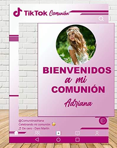 Tu Fiesta Mola Mazo Photocall de Tiktok Comunión Rosa 80x110cm  Photocall Redes Económico y Original   Detalles Comunión  Personalizable