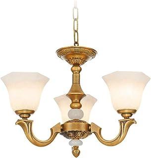 SXXYTCWL Pendentif Moderne Light Rétro Imitation marbre Suspendue Salon de Salon Plein de cuivre a atmosphère Ampoule ampo...