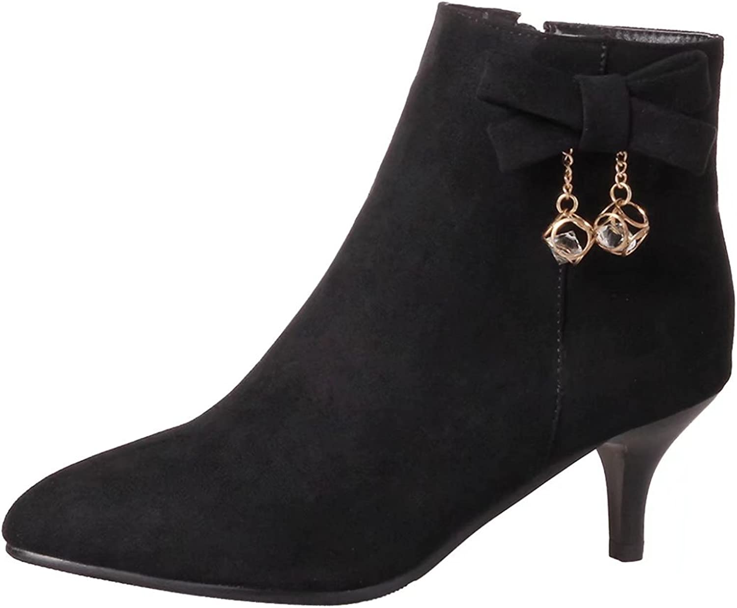 AIYOUMEI Women's Pointed Toe Kitten Heel Bootie Winter Ankle Boots with Bow and Rhinestone