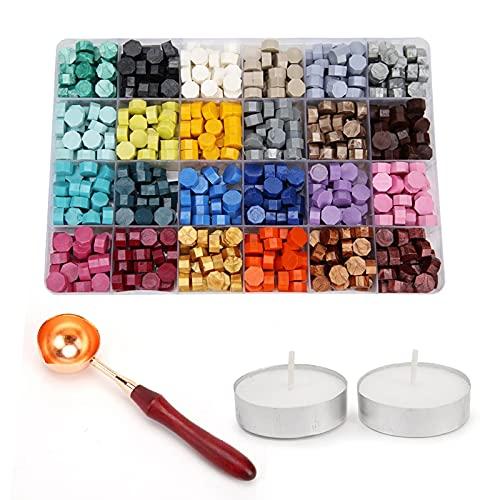 600 unidades de perlas de cera para sellos de cera vintage, multicolor, con 2 velas de té y 1 cuchara de fusión para sellos de cera (24 colores)