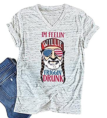 MNLYBABY Women American Flag Sunglasses Short Sleeve V Neck T Shirt 4th of July Funny Top Tees
